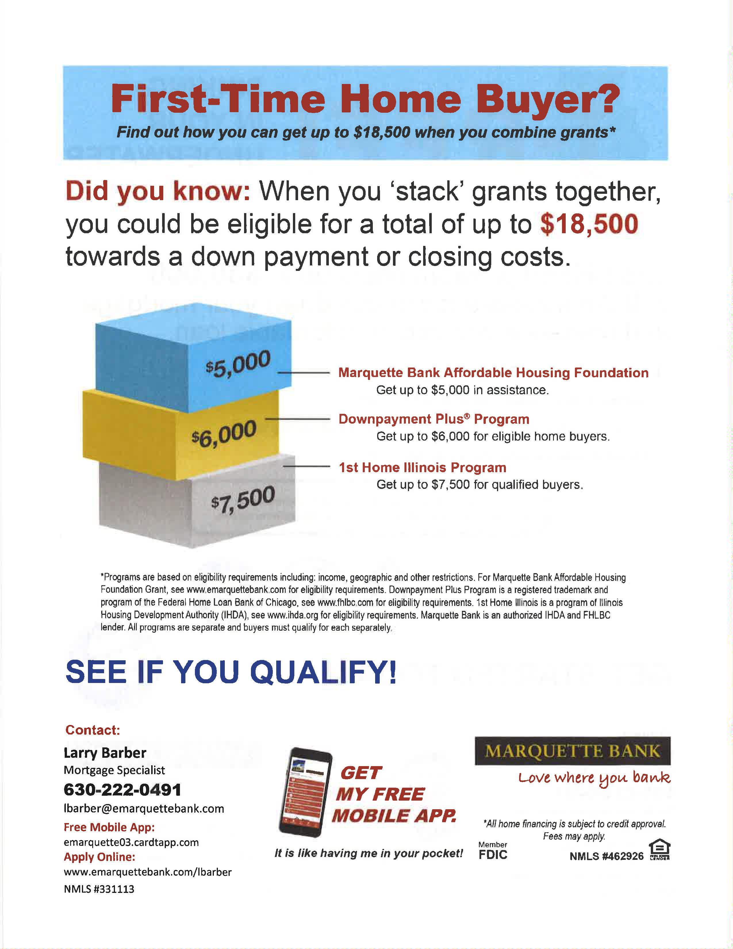 Flyer for Marquette Bank Stackable Grants Promotion for First-time Homebuyers