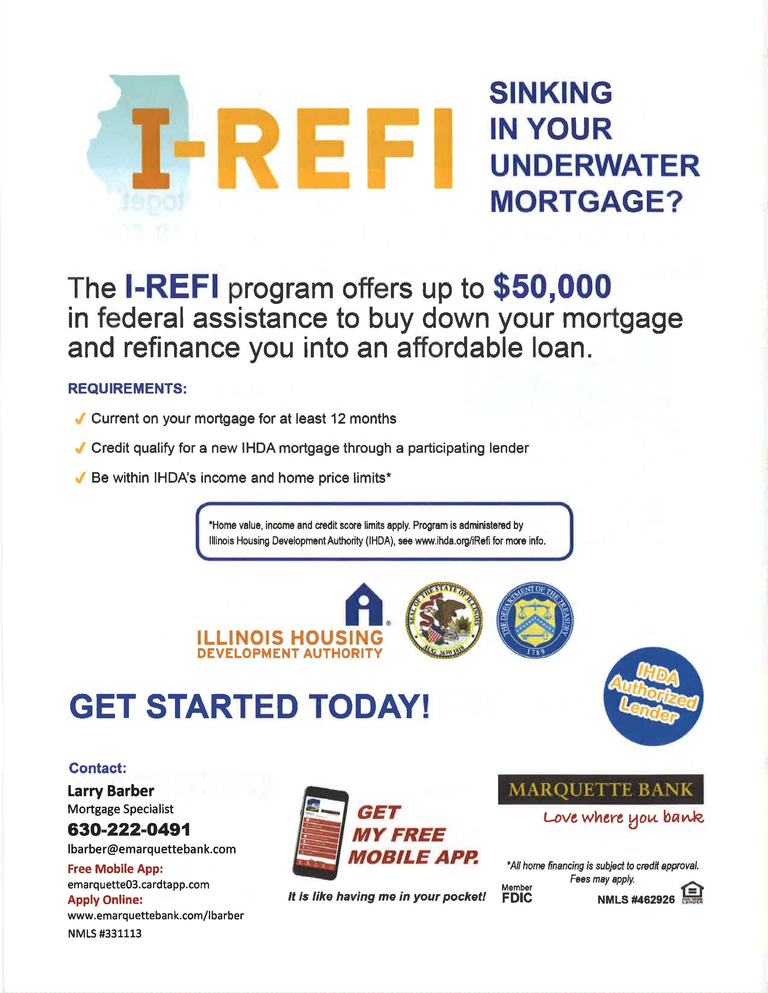 Marquette Bank mortgage refinance assistance program offers up to $50,000 in federal assistance