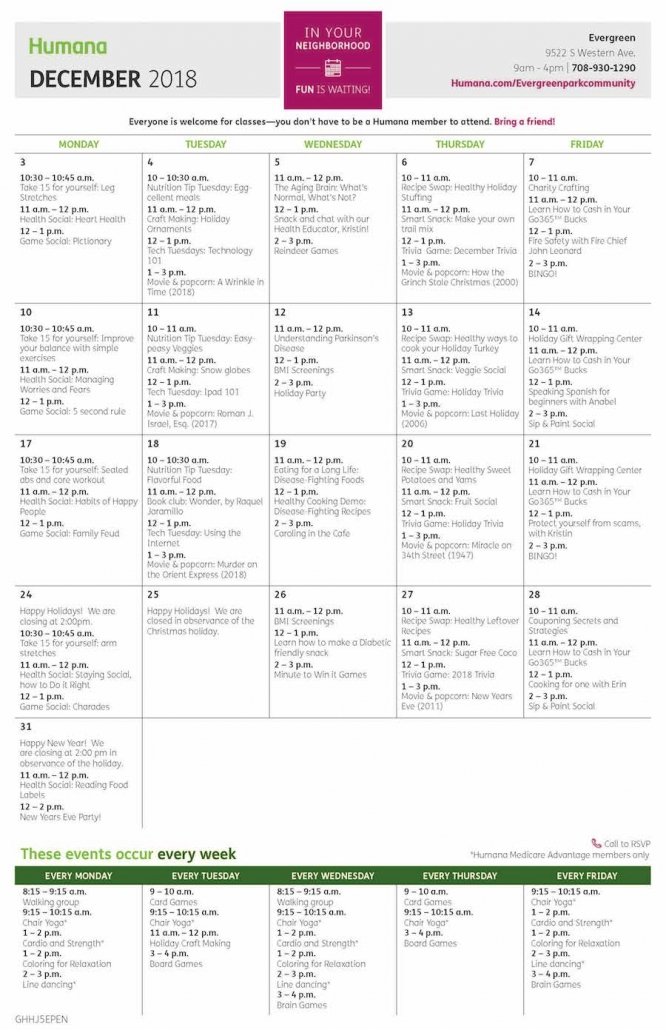 Humana December programming