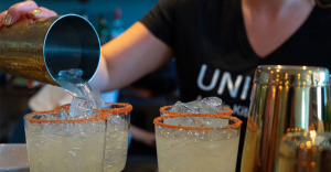 Bartender prepared a batch of margaritas at Unidad