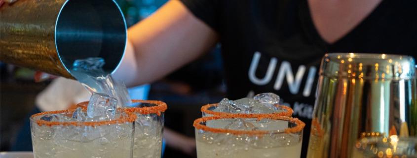 Bartender prepared a batch of margaritas at Unidad