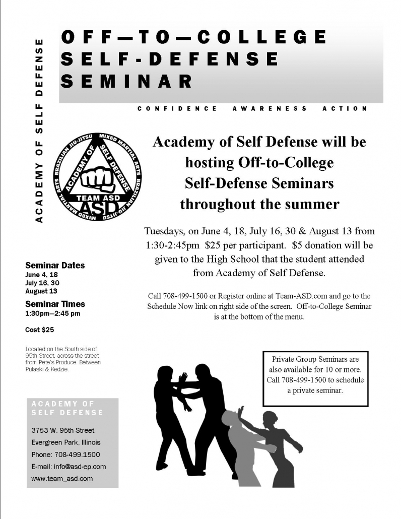 Self defense seminar for college bound students offered this summer by the Academy for Self Defense and Fitness in Evergreen Park, IL