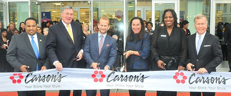 Ribbon cutting ceremony for the new Carson's store at Evergreen Plaza in Evergreen Park, featuring Mayor James Sexton