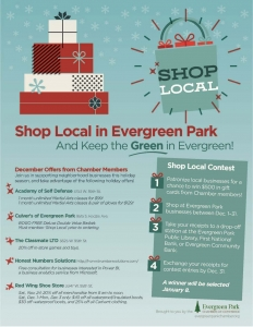 Shop local flyer listing holiday specials from Evergreen Park businesses