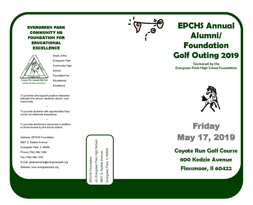 EPCHS Golf Outing 2019 registration form, page 1