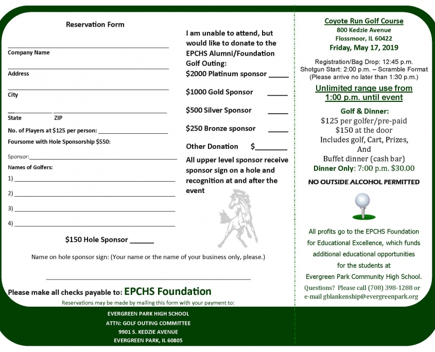 EPCHS Golf Outing 2019 registration form, page 2