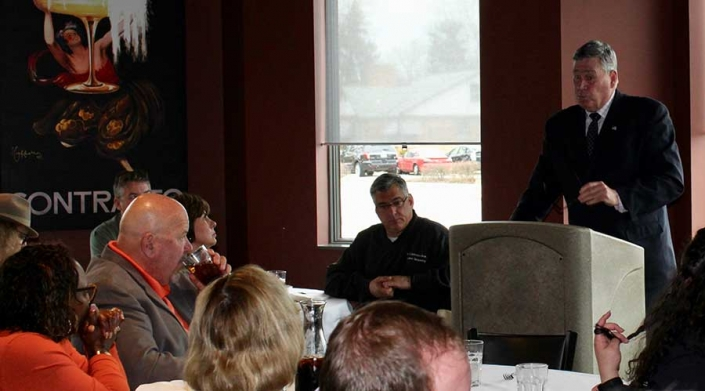 Evergreen Park Mayor James Sexton addresses local business owners at 2018 State of the Village address